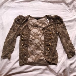 ❤️ Papaya Brown Lace Shrug w/ Gold Buttons